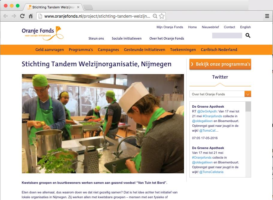 Oranjefonds zet VTTB in het zonnetje